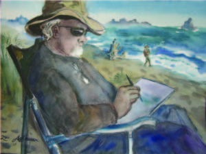 Zoes watercolor of Nik painting