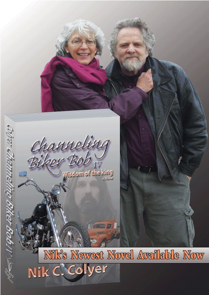 Nik and Barbara with Channeling Biker Bob 4 book cover
